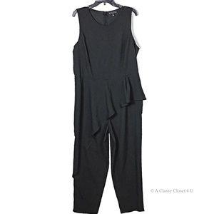 Asymmetrical Peplum Black Jumpsuit Sz 18